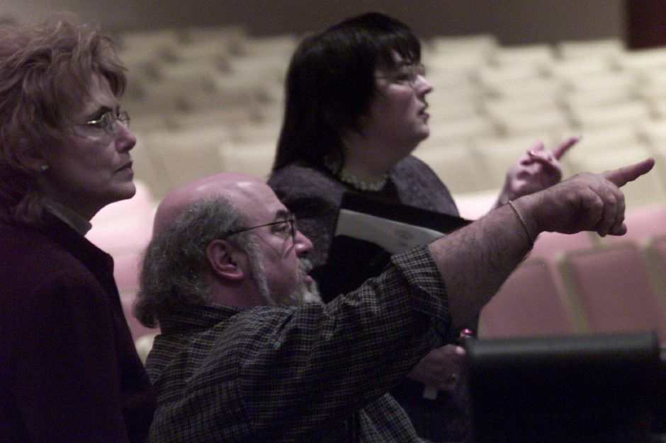 Left to right: Janet Oblon ( music director) , Chuck Rinaldi ( drama director and English teacher) and Rene Rinaldi give artistic direction to Sheehan