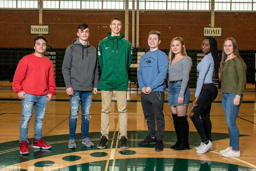Introducing Maloney's Record-Journal Scholar-Athletes for the 2019-20 winter season. From left to right are Onil Carrion, Evan Avery, Garrison Kunst, Matt Desimone, Dasia Morgillo, Kia Hull and Liv Aitken.