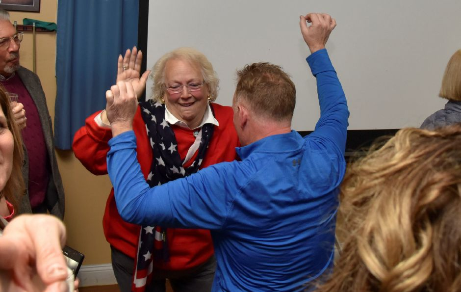 Republican candidate for town council, Victoria Triano, dances with joy while seeing election results come in for the local Nov. 5, 2019 election, while with other Republican candidates and supporters at Friends Cafe in Southington. | Bailey Wright, Record-Journal