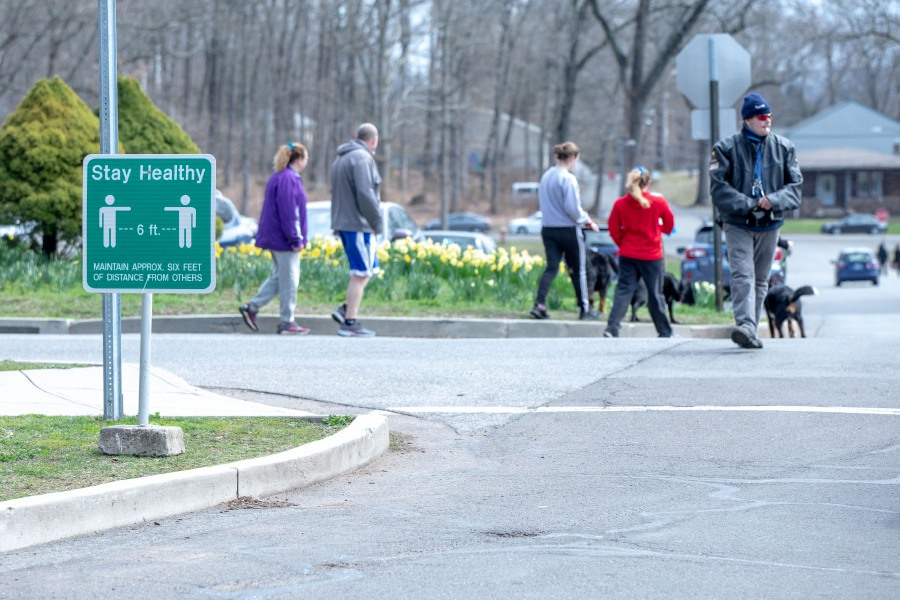 Hubbard Park is seeing one of its busiest weekends on April 5, 2020, as locals seek a break from their quarantine to get some fresh air. Local and state authorities encouraged those visiting parks to maintain at least six feet between other patrons to reduce the spread of Coronavirus. | Devin Leith-Yessian/Record-Journal