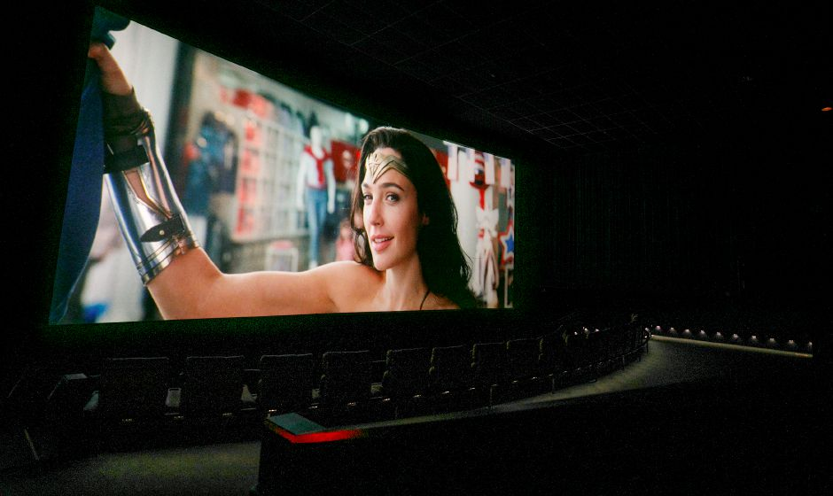 "A scene from ""Wonder Woman 1984"" plays  at Picture Show at Berlin on Frontage Road in Berlin, Thursday afternoon."