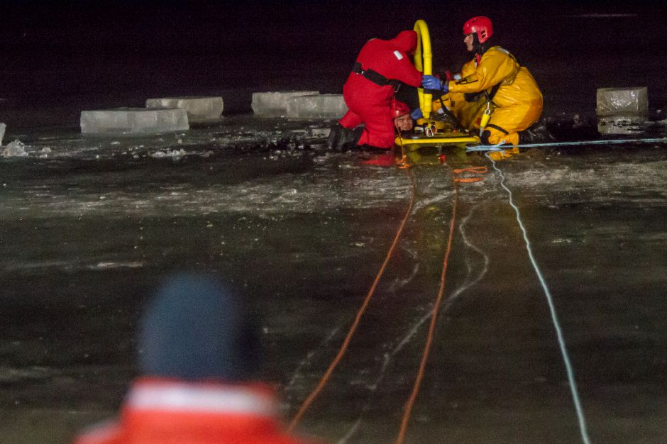 Berlin and Kensington Fire Departments Cold Water training on Papergoods Pond Monday night Feb. 4, 2019. | Ron Paris, Special to the Record-Journal