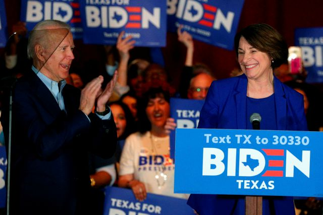 FILE - In this March 2, 2020 file photo, Sen. Amy Klobuchar, D-Minn., endorses Democratic presidential candidate former Vice President Joe Biden at a campaign rally Monday, March 2, 2020 in Dallas. As presumptive Democratic presidential nominee Joe Biden begins the process of choosing a running mate amid the coronavirus crisis, managing the pandemic has become its own version of an audition. For potential picks, lobbying for the job means breaking into the national conversation,...