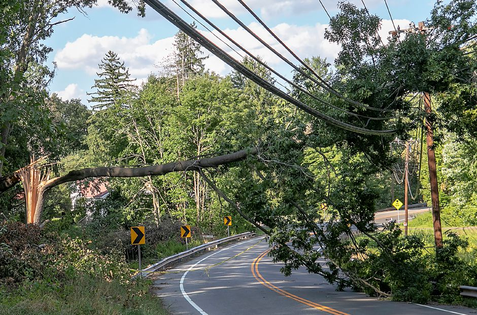 A fallen tree over wires blocks South Meriden Road in Cheshire, Wed., Aug. 5, 2020. Dave Zajac, Record-Journal