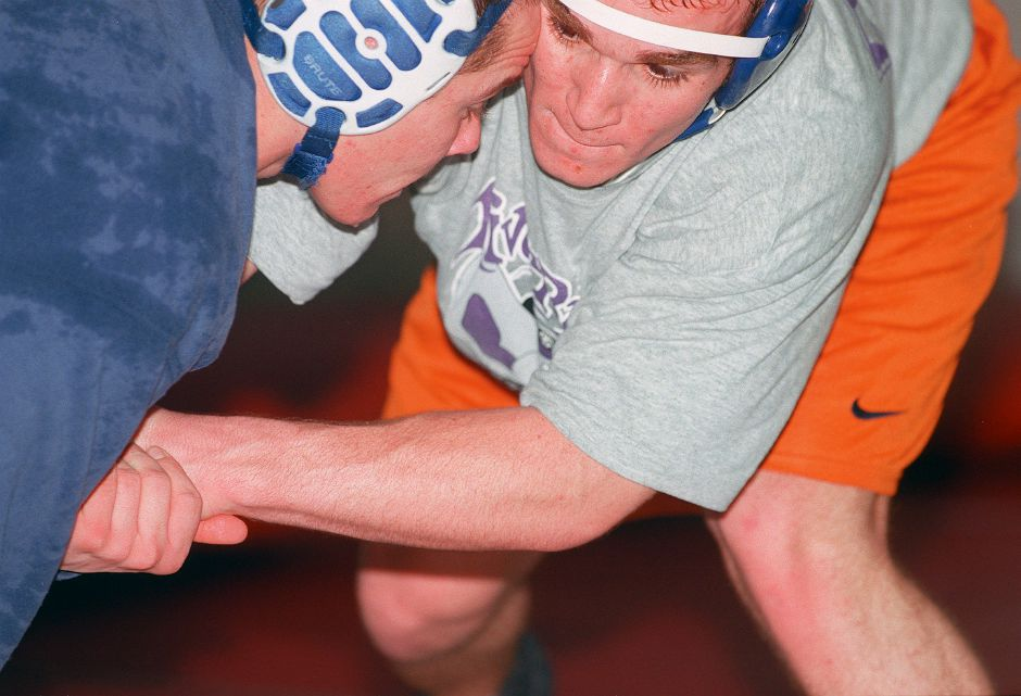RJ file photo - Southington High School wrestlers Colin Sepko, left, and Jay Maule in the school