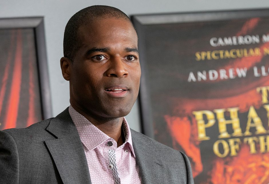 Actor Derrick Davis talks about portraying The Phantom on the 25th Anniversary Tour of The Phantom of the Opera currently at the Toyota Oakdale Theatre, Thurs., May 9, 2019. Dave Zajac, Record-Journal