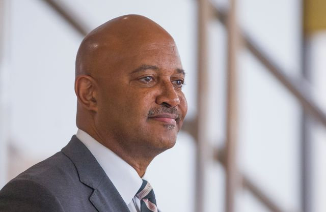 FILE - In this Oct. 3, 2019, file photo, Indiana Attorney General Curtis Hill holds a press conference in South Bend, Ind. Votes are being tallied Friday, July 10, 2020, to decide whether Republicans will nominate Attorney General Hill for a new term despite allegations of groping four women that resulted in a month-long suspension of his law license. (Robert Franklin/South Bend Tribune via AP, File)