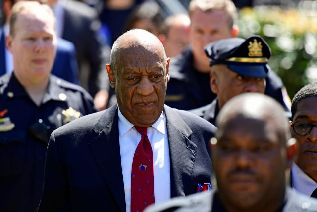 Bill Cosby leaves his sexual assault trial at the Montgomery County Courthouse, Thursday, April 26, 2018, in Norristown, Pa. Cosby was found guilty. (AP Photo/Corey Perrine)