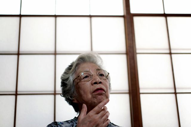Mari Kaneda, 85, a WWII war orphan, speaks on her experience during an interview with The Associated Press Sunday, July 19, 2020, in Warabi, north of Tokyo. In Japan, war orphans were punished for surviving. They were bullied. They were called trash, sometimes rounded up by police and put in cages. Some were sent to institutions or sold for labor. They were targets of abuse and discrimination. Now, 75 years after the war