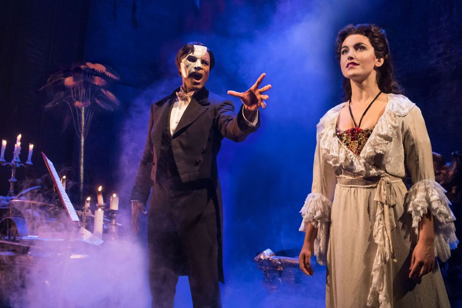 "Derrick Davis as 'The Phantom' and Eva Tavares as 'Christine Daaé' perform ""Music of the Night"" in ""The Phantom of the Opera. Photo: Matthew Murphy"