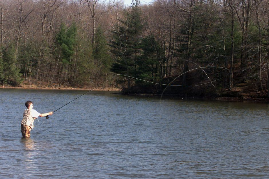 Derrick Stec, 14, of Wallingford, fly casts in Wharton Brook State Park Monday afternoon, April 23, 2001. He wasn