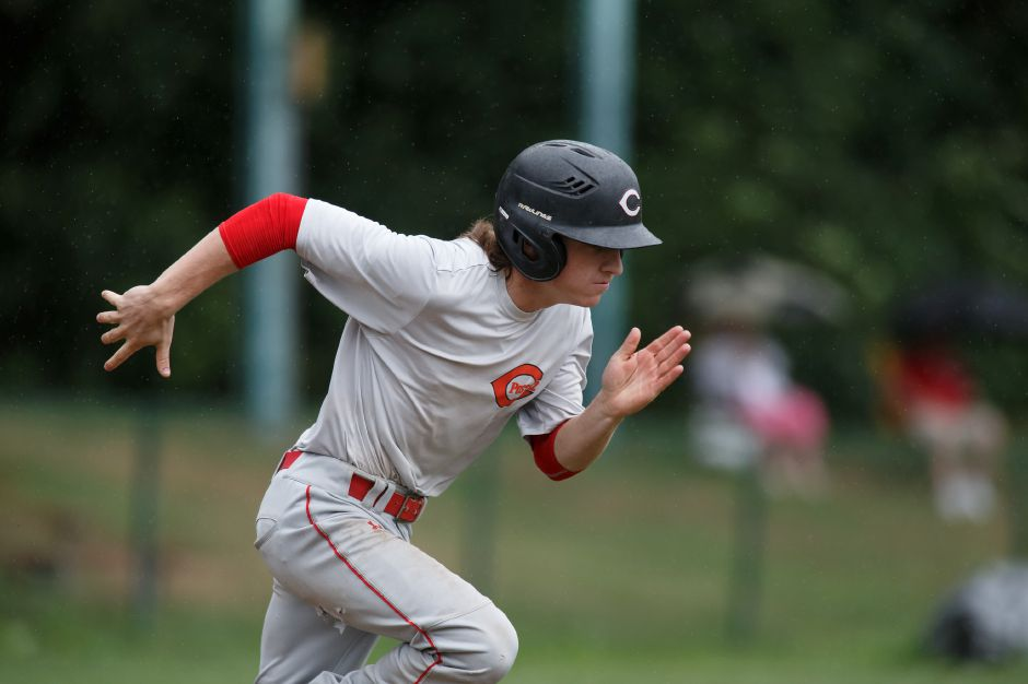 Paul Villecco of Cheshire tripled for the Wallingford Silver Storm in their Connecticut Collegiate Baseball League season opener Wednesday night at Pat Wall Field against the Simsbury SaberCats. The Silver Storm fell 2-0. Record-Journal file photo