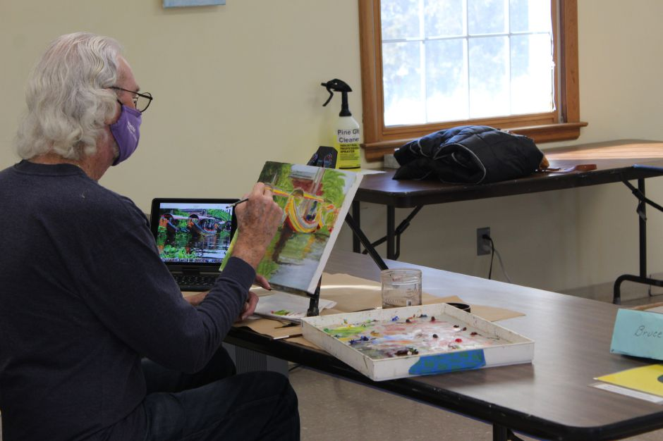 Bruce Wilcox was one of the students testing his skills during a workshop at Cheshire's Artsplace. Photos by Mariah Melendez, Cheshire Herald