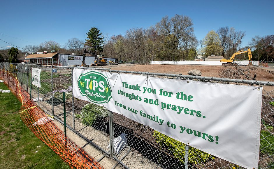 "A sign reads ""Thank you for the thoughts and prayers."" From our family to yours!"" on the cleared site of the former Tops Market in Southington, Wed., Apr. 24, 2019. A fire destroyed the business on March 3rd. Dave Zajac, Record-Journal"