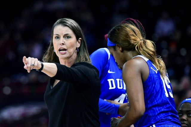 FILE - In this Dec. 19, 2019, file photo, Duke coach Joanne P. McCallie communicates with players during the second half of the team