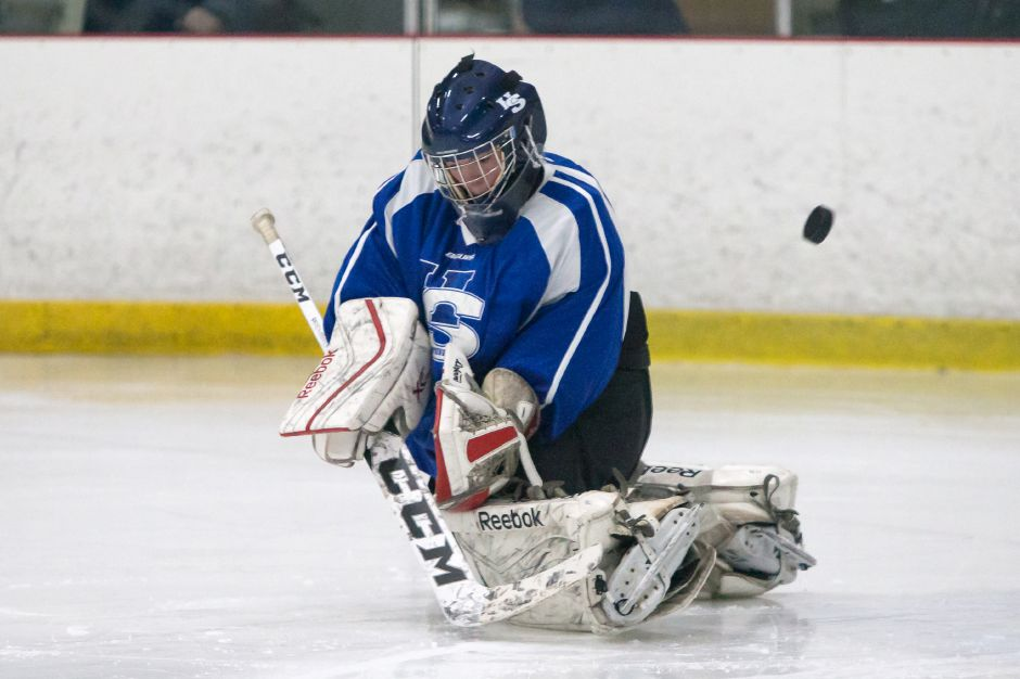 Hall-Southington goalie Noah Behrens-Gould stopped 36 shots as the Warrior-Knights knocked off Sheehan 2-1 in a non-conference Division III showdown Monday afternooon at Choate. | Record-Journal file photo