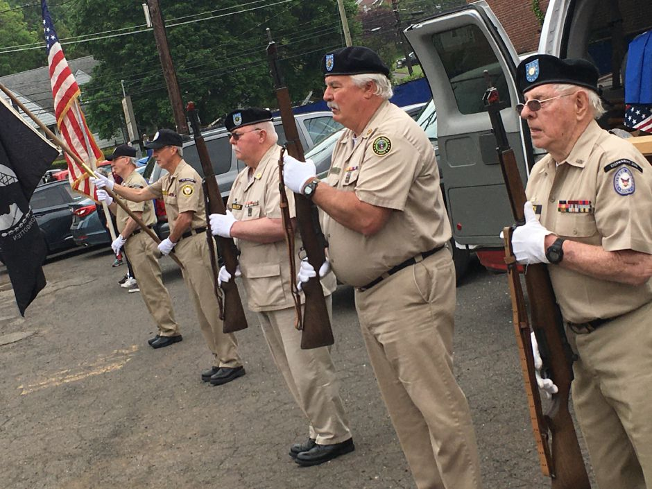 Members of the Antique Veterans of Meriden Honor Guard posts the colors at the Memorial Day service at the American Legion Post 45 in Meriden on Monday, May 25, 2020. | Lauren Takores