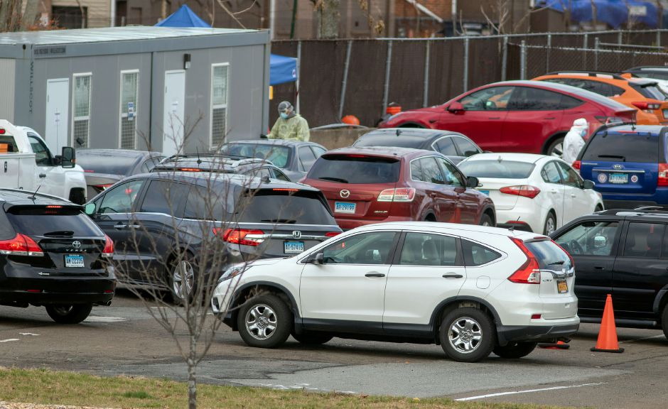 Cars wait in line for a COVID-19 test at the Community Health Center on State Street in Meriden on Thursday, November 19, 2020. Aaron Flaum, Record-Journal