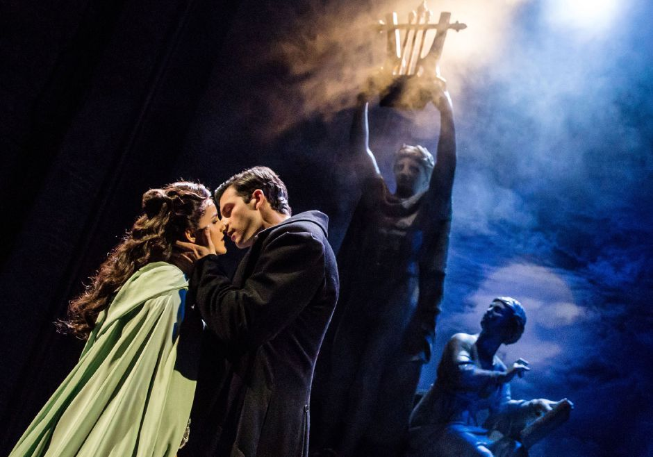 "Eva Tavares as 'Christine Daaé' and Jordan Craig as 'Raoul' perform ""Rooftop"" in ""The Phantom of the Opera."" Photo: Matthew Murphy"