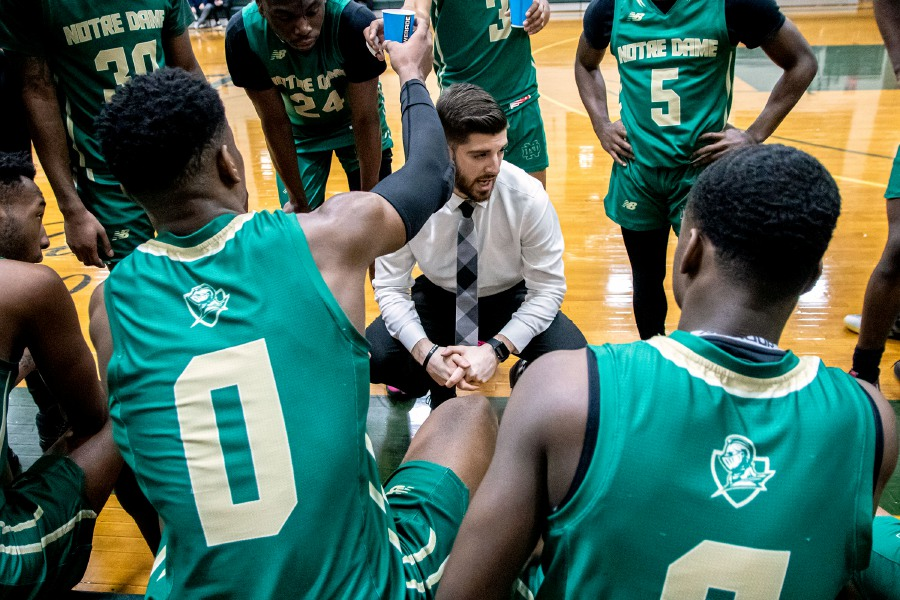 Notre Dame Prep head coach Nick DeFeo talks to his team during Tuesday night's game against Springfield Commonwealth at Tonelli Court in West Haven. The Southington native has Notre Dame's new post-graduate basketball team at 13-11 in its inaugural season. | Aaron Flaum, Record-Journal