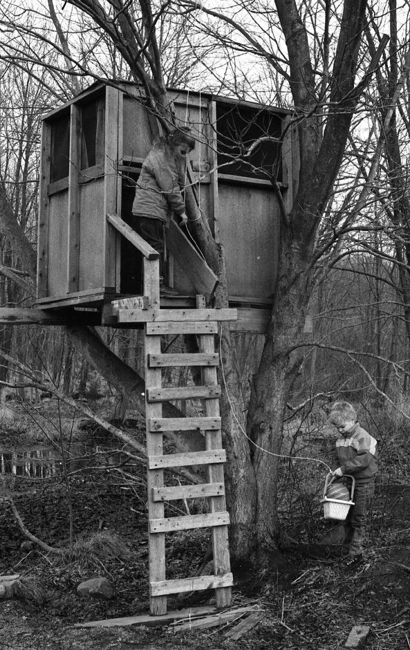 RJ file photo - Billy and Kristen Cousino, ages 5 and 7, play in their backyard treehouse at the Williams Road home, March 1989.