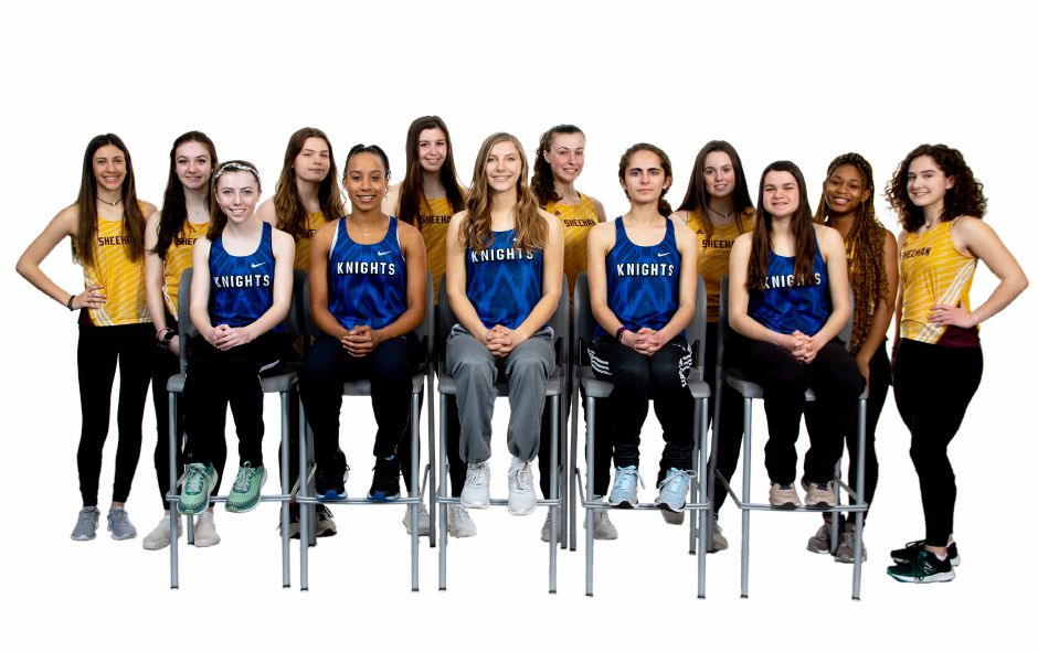 The 2020 All-Record-Journal girls indoor track team was dominated by Southington and Sheehan. The Southington girls in front, left to right, are Jackie Izzo, Anny Moquete-Volquez, Alexah Zaczynski, Diane Pillsbury and Lauren Verrilli. From the SCC champion Sheehan Titans are, left to right, Arianna Amodio, Patrice Mansfield, Erin Brennan, Alicea Piscitelli,  Olivia Dubuc, Avery Winters, Clarisse Aminawung and Allison Villano. Aaron Flaum, Record-Journal