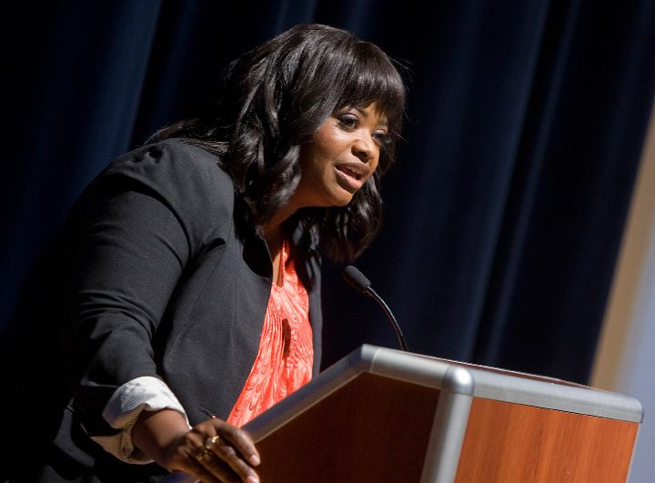"Academy award winning actress and author, Octavia Spencer, speaks during an end-of-year celebration for students who read a million words throughout the year at Lincoln Middle School, Monday, June 16, 2014. Spencer is best known for her role as an outspoken maid in the 2011 film ""The Help."" 