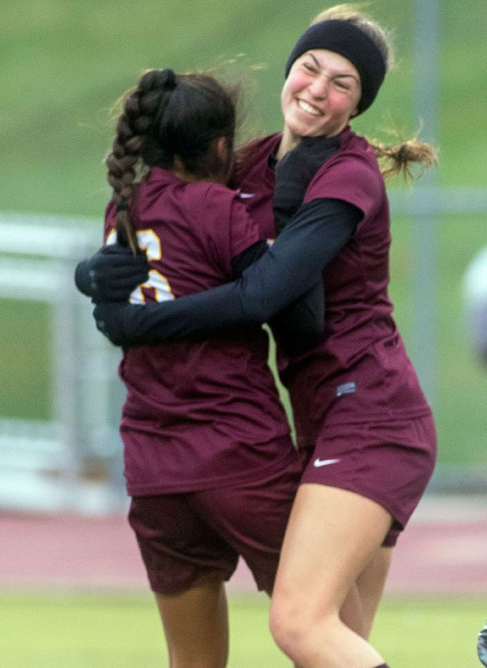 Amy Casorla, left, and Olivia Dubuc celebrate after Dubuc set up Casorla for what proved to be the game-winning goal in Sheehan's 2-1 victory over Branford in the first round of the CIAC Class L girls soccer tournament Tuesday at Riccitelli Field. Photos by Aaron Flaum, Record-Journal