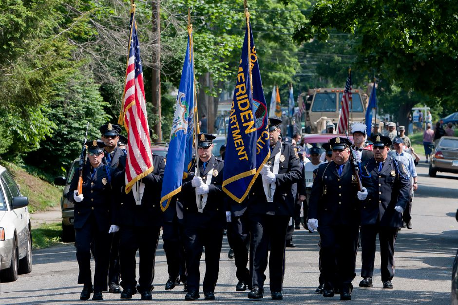Members of the Meriden Police Dept lead the Memorial Day Parade in downtown Meriden, May 28, 2012. (Justin Weekes/Record-Journal)