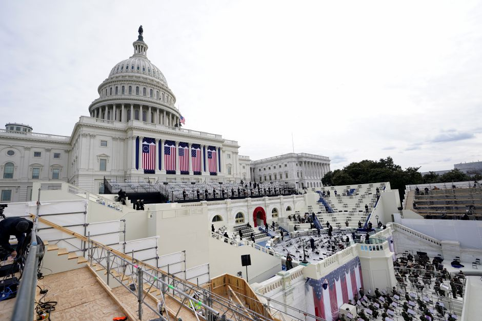 Preparations are made prior to a dress rehearsal for the 59th inaugural ceremony for President-elect Joe Biden and Vice President-elect Kamala Harris on Monday, January 18, 2021 at the U.S. Capitol in Washington. (AP Photo/Carolyn Kaster)