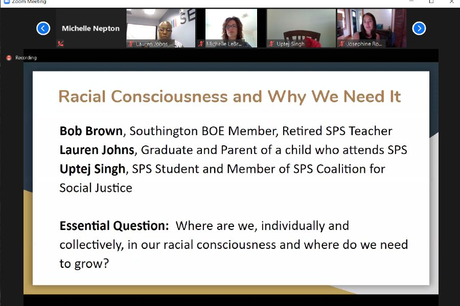 The Southington Public Schools Coalition for Social Justice addressed racial consciousness during the second of three online community conversations taking on topics related to race and diversity.