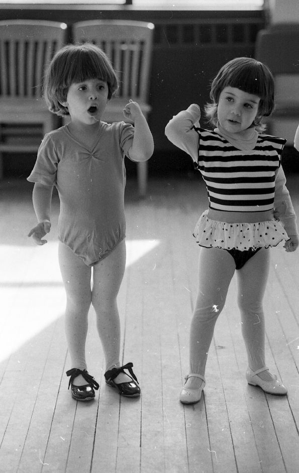 RJ file photo - Caelle Giapponi, 3, and Sarah Kowalski, 3, practice a routine during tap dancing class sponsored by the Wallingford Recreation department March 7, 1989.