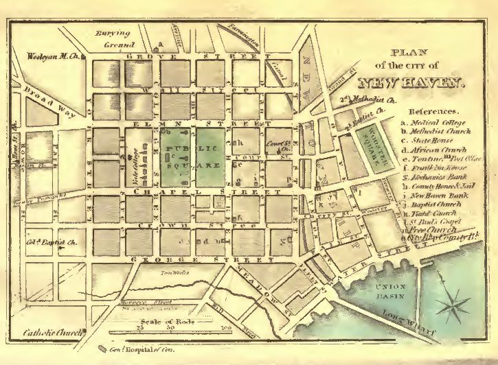 Plan of the City of New Haven from History and Antiquities of New Haven, Conn. by J. W. Barber, 1831. | Courtesy connecticuthistory.org.