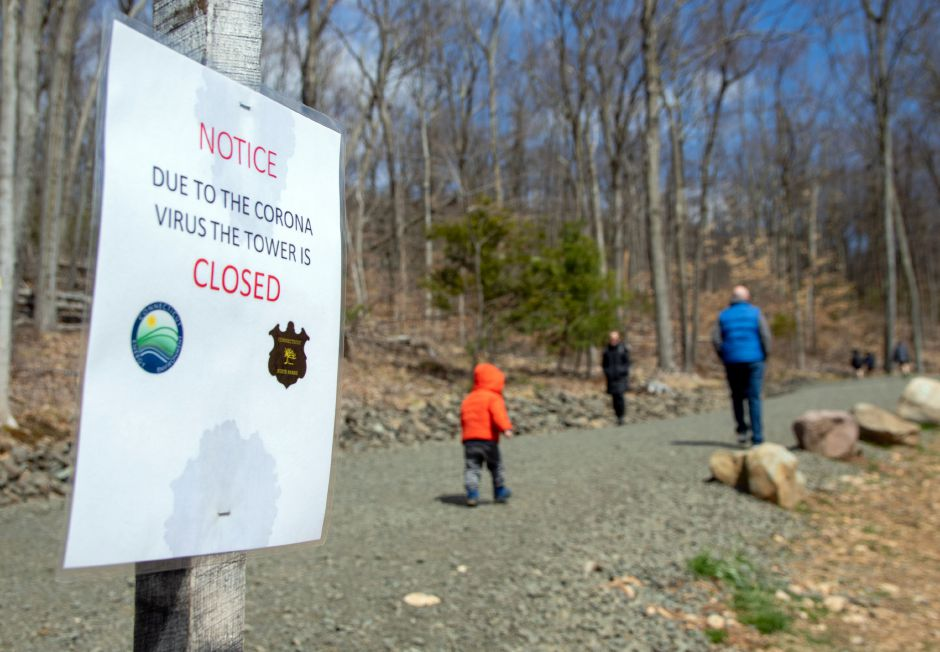 Hikers head up the Tower Trail at Sleeping Giant State Park in Hamden. Aaron Flaum, Record-Journal