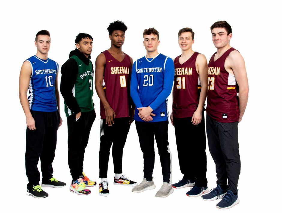 Introducing the 2019-20 All-Record-Journal Boys Basketball Team. From left to right: Southington's Jared Kelly, Maloney's Vincent Martinez, Sheehan's Kris Jackson, Southington's Jake Napoli and Sheehan teammates Garrett Molampy and Jack McDonnell.