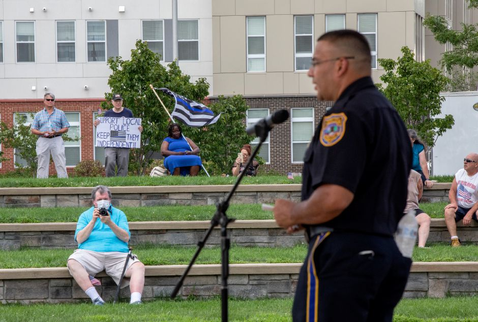 Meriden Police Chief Roberto Rosado speaks at an August 9, 2020 rally held on the Meriden Green. | Devin Leith-Yessian/Record-Journal