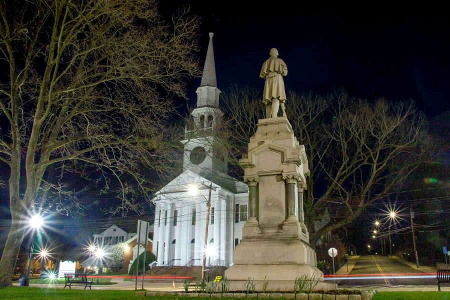 A night shot of the First Congregational Church of Southington across the street from the Civil War monument on the Southington Town Green on Thursday, April 9, 2020. Aaron Flaum, Record-Journal