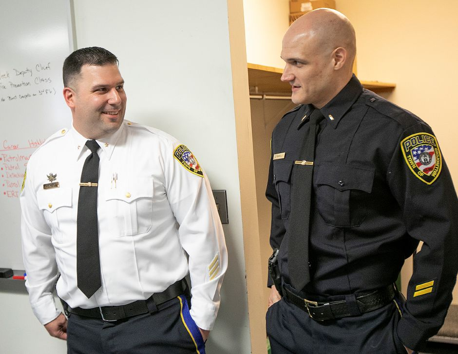 Lt. John Ventura, left, and Sgt. James Cifarelli smile before a badge-pinning ceremony at the Wallingford Police Dept., Mon., Apr. 29, 2019. Ventura was promoted to deputy chief and Cifarelli was promoted to lieutenant. Dave Zajac, Record-Journa