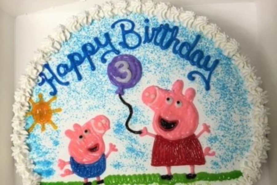 This custom ice cream cake featuring the  Peppa  Pig cartoon  was made by  Sweet Claude's Ice Cream in Cheshire.