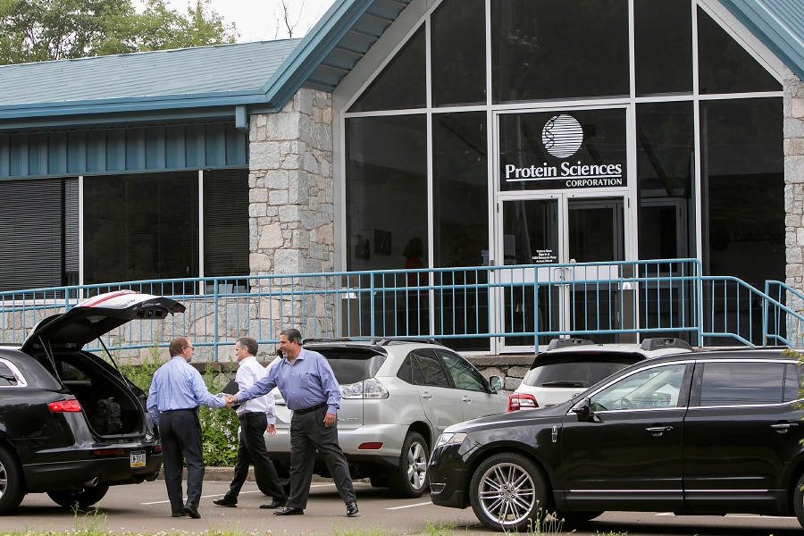Visitors shake hands as they exit Protein Sciences at 875 Research Parkway in Meriden, Tuesday, July 11, 2017. | Dave Zajac, Record-Journal