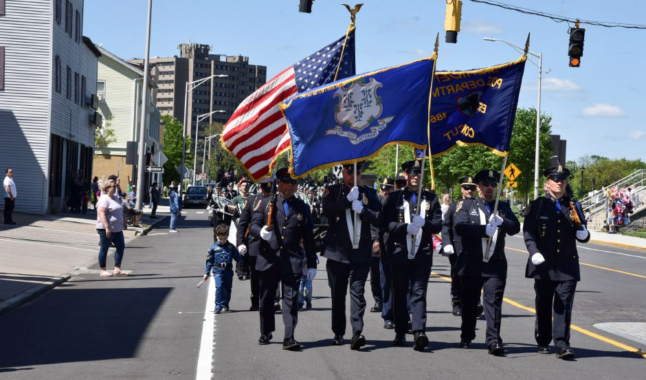 Meriden Police during the 2019 Memorial Day parade in Meriden on May 27. | Bailey Wright, Record-Journal