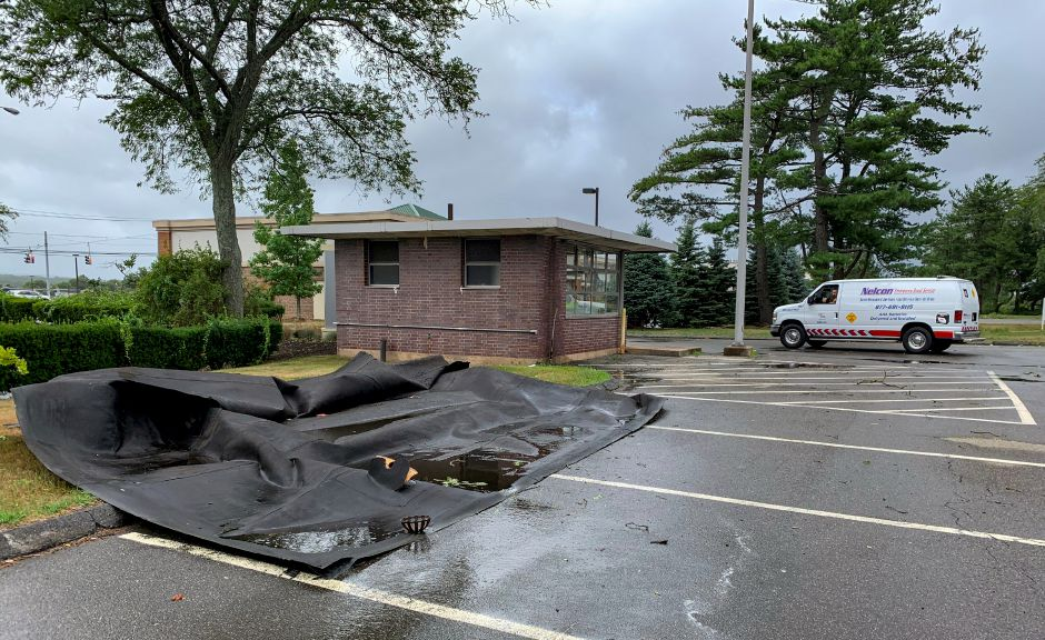 The roof lining of an old guardhouse at 500 S. Broad St. blew off as the tropical storm passed through the area Aug. 4, 2020.