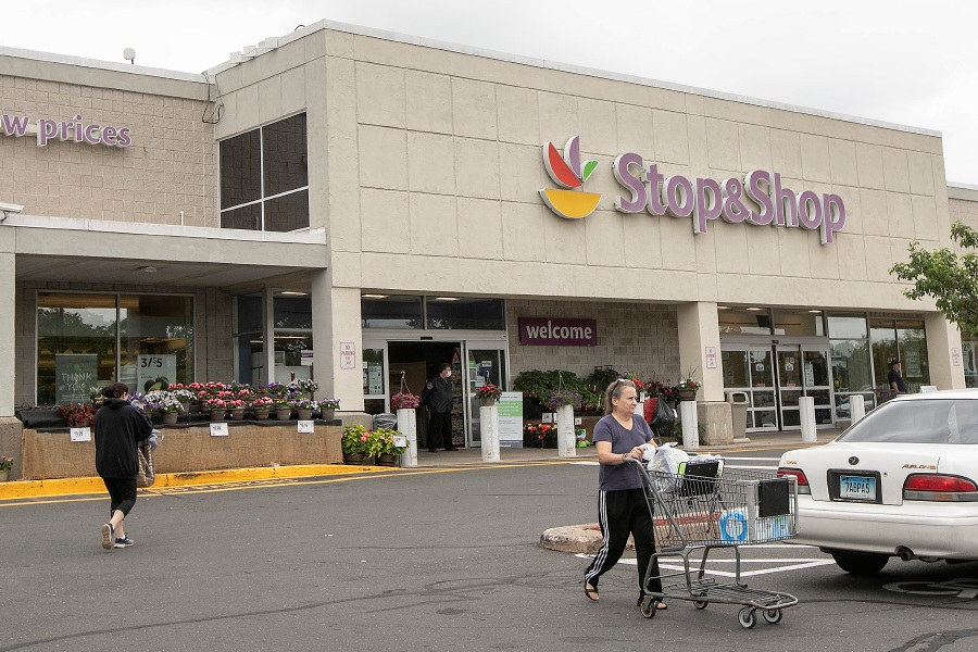 Nancy Proto, of Meriden, heads to her vehicle after shopping at Stop & Shop at 77 Centennial Ave. in Meriden, Thurs., May 28, 2020. Stop & Shop will close its grocery store and gas pumps in Centennial Plaza this fall, citing lackluster sales and low traffic numbers for its decision. Dave Zajac, Record-Journal