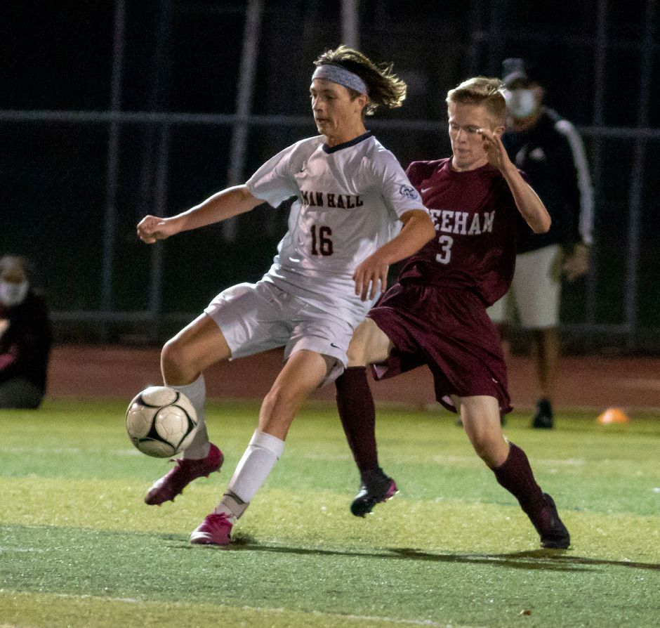 Since falling to Connor Duffey (3) and rival Sheehan 1-0 in the season opener on Oct. 2, Blake Gibertoni (16) and the Lyman Hall boys soccer team has gone 2-0-1, including a win over No. 6 Xavier.