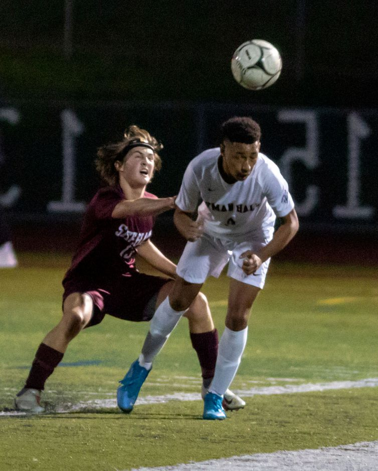 Yahya Kardad, seen here in action against Luke Festa and the Sheehan Titans, scored both goals in Lyman Hall's 2-1 upset of Xavier on Tuesday at Fitzgerald Field. Aaron Flaum, Record-Journal