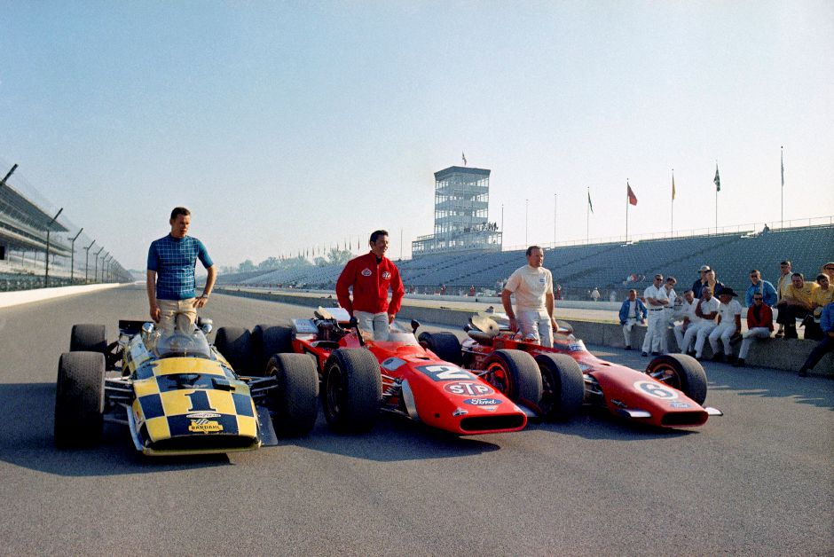 LEFT: Al Unser, Mario Andretti, and A.J. Foyt, from left to right, comprised the front row of the 1969 Indianapolis 500. The rivalry between Andretti and Foyt was voted the most famous in the 99-year history of the  Memorial Day weekend race, which will be held in August this year due to the coronavirus pandemic.