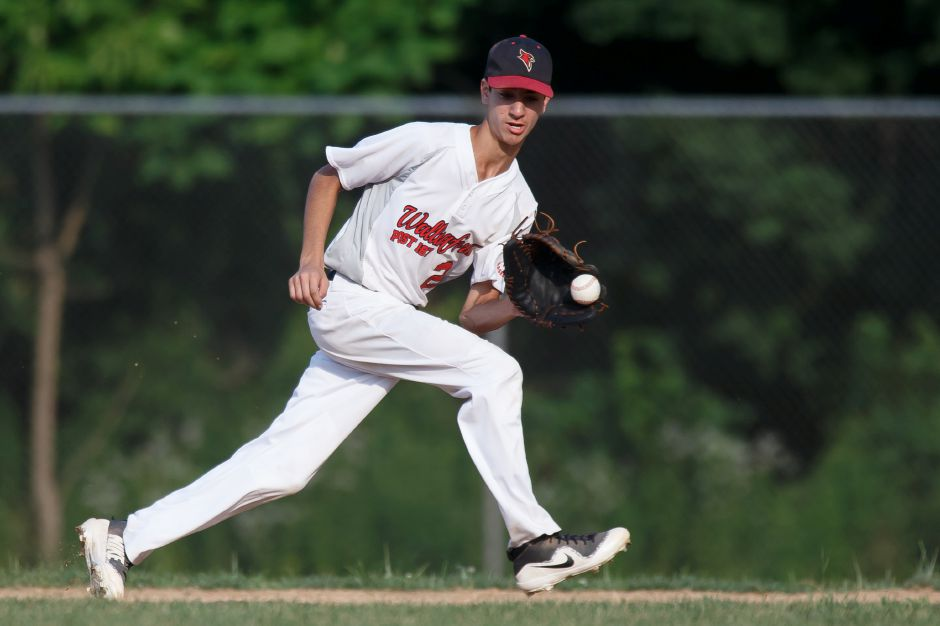 A diving catch at second base by Wallingford's Joe Amarone helped limit a Hamden surge in the fifth inning, but the Cardinals could not close a 2-1 deficit in falling Wednesday in the Division 2 play-in final in CT Elite Baseball Association game at Meriden's Legion Field. Record-Journal file photo