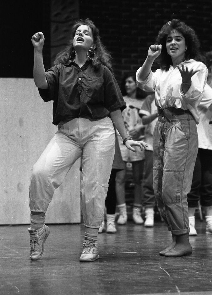 RJ file photo - Sheehan High School students Ranee Barbieri and Renee Nalbandian rehearse for the senior class and drama club