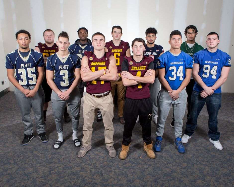 The Record-Journal ALL-RJ football defense team front from left Platt